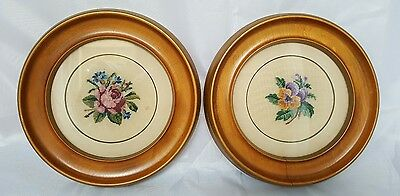 Pair of Vintage Round Framed Finished Petit Point Rose Pansy Floral Bouquets
