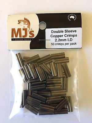 50 X 2.2mm Double Sleeve Copper Crimps. Suits Wire and Mono Leader. use on Daiwa