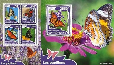 Z08 Imperforated CA16004ab CENTRAL AFRICA 2016 butterfliesMNH Set