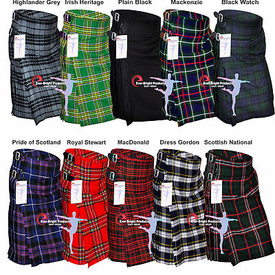 New Men's 5 Yard Scottish Kilts Tartan Kilt 13oz Highland Casual Kilt 10 Tartans