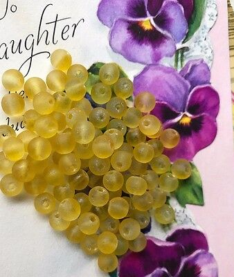 Vintage Glass Beads,Yellow Shabby Beads,Frosted Beads,Cottage Chic,6mm #1705