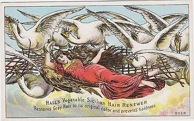 Rare Old Halls Vegetable Sicilian Hair Renewer Quack Victorian Trade Card Exc