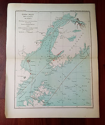 1895 USGS Survey Map Cook Inlet Alaska Visited by Becker and Dall