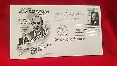 Rare Dual Signed Harry and Bess Truman 1965 First Day Cover