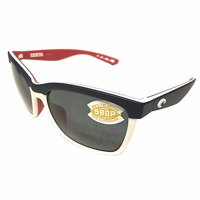 NEW Costa Del Mar Anaa Sunglasses – USA Red White Blue – POLARIZED Gray 580P
