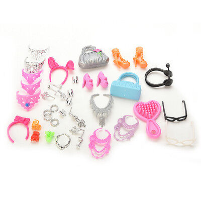 41pcs/set Mix Doll Necklace Earings Combs Crown Bag Set for Barbie Dolls