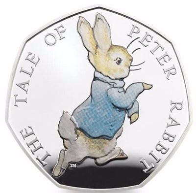 Peter Rabbit 2017 UK 50p Silver Proof Coin - Coloured - On hand