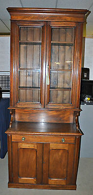 Antique Walnut Writing Desk Hutch Cabinet Secretary with Original Key