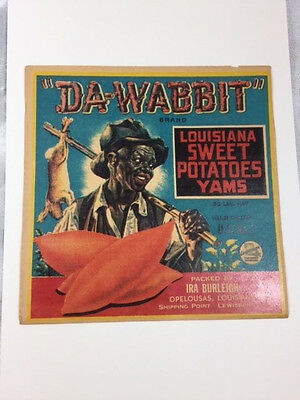 "Early 1900 Original 6""x6"" ""Da Wabbit"" Brand Sweet Potato Yam Crate Litho Label"
