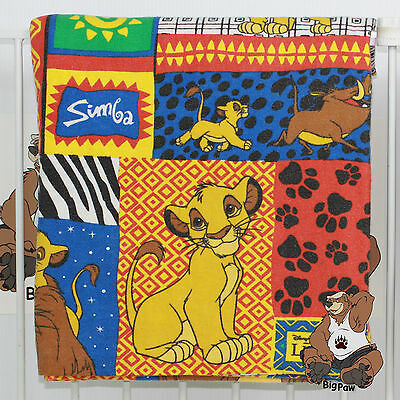Vintage Disney The Lion King Simba & Mufasa Twin Flat & Fitted Flannel Sheets