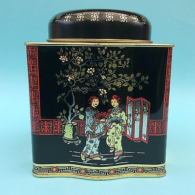 TEA TIN CHINA YUNNAN PUERH Traditional Design Figures Black Red Gold Double Lid