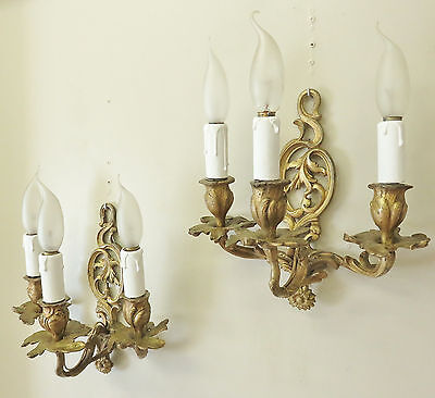 SUPERB PAIR ANTIQUE FRENCH SCONCES WALL LIGHTS THREE ARMS BRONZE 19thC SUNFLOWER