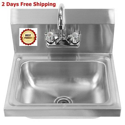 Stainless Steel Sink Wall Mount Hand Washing Basin with Faucet Warewashing Clean