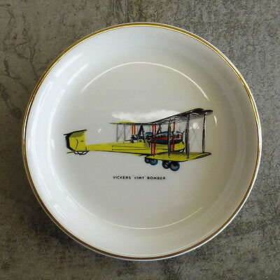 Vintage Vickers Vimy Bomber WWI Aircraft Pin Dish Wood & Sons Plate England