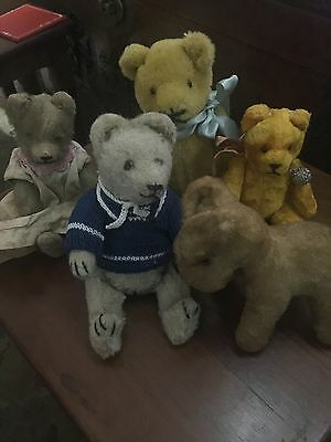 Group Of Vintage Antique Teddy Bears And Dog