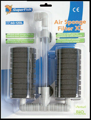 Superfish Large Double Air Sponge Filter Shrimp Fry Safe Aquarium Filter XL