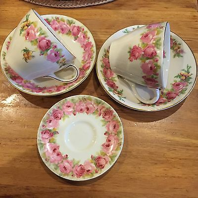 Royal Doulton Raby rose And rose Wattle Cups And Saucers