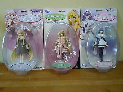 Lot of 3 Chobits Chi & Yuzuki Figures Geneon Toynami Clamp 2005 BRAND NEW