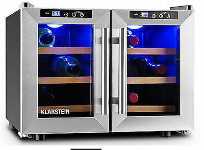 Klarstein Reserva Saloon Wine Cellar 12 Bottles 40L Stainless Steel LED Genuine