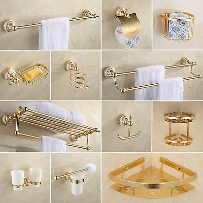 Luxury Gold Finish Porcelain Bathroom Holder Rail Rack Bar Hook Wall Mounted