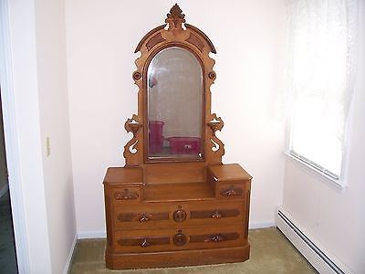 Chestnut Victorian Dresser & Commode Circa 1870   - Guilford,ct.