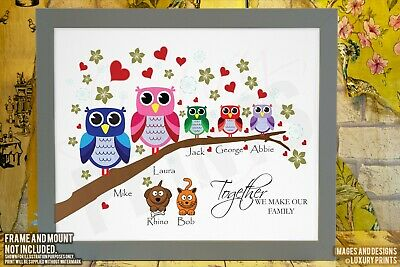 Personalised FAMILY Branch Owl Picture Print Gift Canvas Wall Tree Present