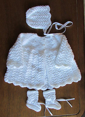 soft white matinee set new 0 to 3 months hand knitted  reborn  newborn