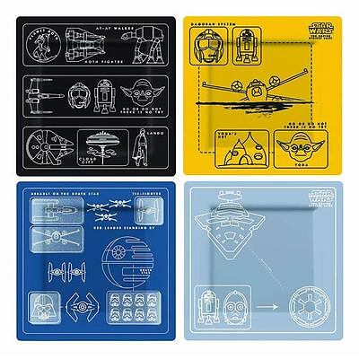 "Star Wars Blueprint Melamine 4 Plate Set 8 x 8"" Rebel Alliance Empire New"