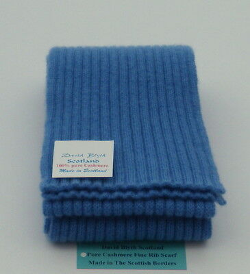 Kiddies Pure Cashmere Knitted Scarf - Fine Rib Design - Isfahan Blue