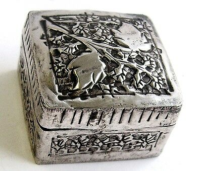 Vintage Fancy Sterling Silver Hallmarked Snuff Box or Pill Box.