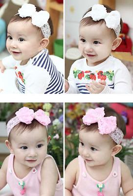 NEW White Rose Bow & Lace Girl's Head Band, BUY 1 GET 1 FREE! UK Seller