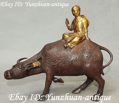 "9"" Rare Chinese Bronze Gilt Kid Child Cowboy Cattle Bull Cow Oxen Animal Statue"