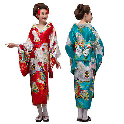 New Traditional Japanese Kimono Yukata Obi Stage Show Cosplay Costume Robe Dress