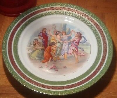 Antique Austrian Cabinet Plate Classic Musicians Dancing Girls Hand Painted