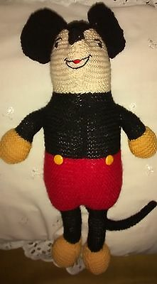 Vintage Hand Knit MICKEY MOUSE Doll Stuffed Animal