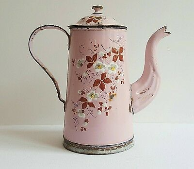 1920s vintage French enamelware water pitcher