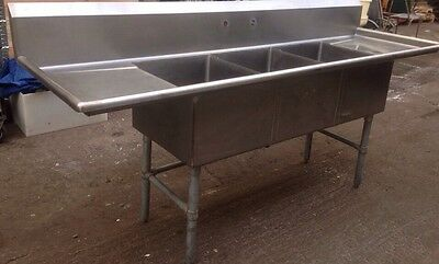 """TARRISON PRODUCTS 90"""" COMMERCIAL STAINLESS STEEL 3BAY SINK w/Faucet"""