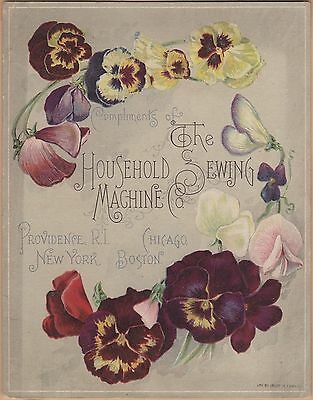 Large Victorian Trade Card-Household Sewing Machine- Providence, RI-Pansies