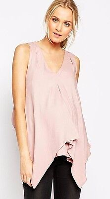 ASOS Maternity NURSING Woven Tank With Overlay (In Navy Only) UK 14 New
