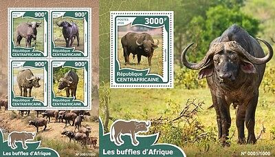 Z08 Imperforated CA16003ab CENTRAL AFRICA 2016 African buffalos MNH Set