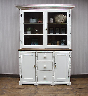 Superb Antique Pine Bookcase Cabinet, Victorian House Keepers Dresser, old paint