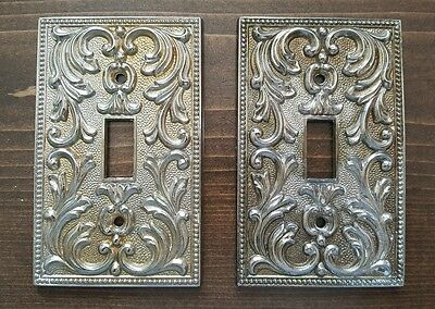 Vintage Pair Of Ornate Filigree Metal Single Toggle Switch Plate Covers