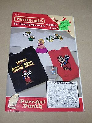 Nintendo Licensed Purr-fect Punch Pattern Book 18 Embroidery Patterns EX 1990