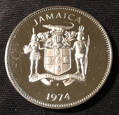 1974 Jamaica Proof 25 Cent Coin