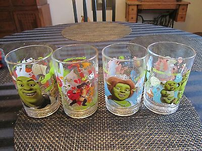 SHREK THE THIRD Mc DONALD'S GLASSES SET Of 4 DIFFERENT COMPLETE 2007 FREE SHIPIN