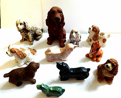 Dog Figurines 11 Assorted Mini Dogs  Porcelain Onyx Mixed Materials