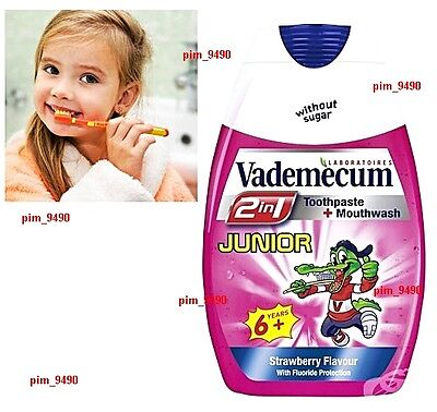 VADEMECUM 2 in 1 Toothpaste and Mouthwash JUNIOR 6+ Years 75ml Sugar Free