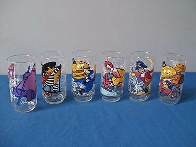 6 McDONALD'S 1977 ACTION SERIES COMPLETE SET PROMO CHARACTER GLASSES
