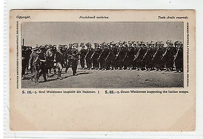 COUNT WALDERSEE INSPECTING THE ITALIAN TROOPS: Boxer Rebellion postcard (C26955)