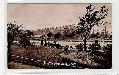 POND IN ELDER PARK, GOVAN: Glasgow postcard (C27012)